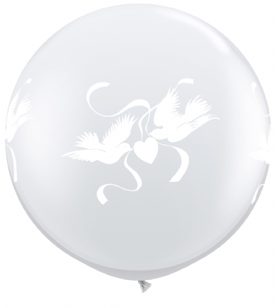 3FT Diamond Clear  Love Dove Latex Balloons x 2